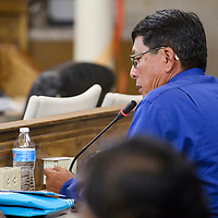 Council delegate Walter Phelps makes comments during the Navajo Nation Council meeting in Window Rock Monday.