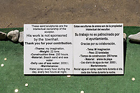 Sand sculptor's notice concerning his sand suluture.  14th April 2018. 2018041404313<br />
