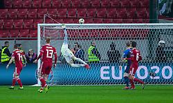 March 21, 2019 - Trnava, Slovakia - Hungarian goalkeeper Peter Gulácsi safe during  the Slovakia and Hungary European Qualifying match at Anton Malatinsky Arena on March 21, 2019 in Trnava, Slovakia. (Credit Image: © Robert Szaniszlo/NurPhoto via ZUMA Press)