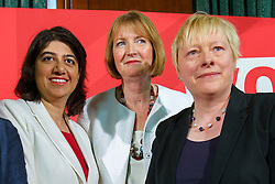 © Licensed to London News Pictures. 24/05/2016. London, UK. Labour Party's prominent female figureheads Shadow Chief Secretary to the Treasury SEEMA MALHOTRA, former Labour leader HARRIET HARMAN and Shadow Business Secretary ANGELA EAGLE speak to set out why women are better off in European Union at Church House in London on Tuesday, 24 May 2016. Photo credit: Tolga Akmen/LNP