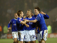 Photo: Kevin Poolman.<br />Leicester City v Fulham. The FA Cup. 06/01/2007. Danny Cadamarteri (middle) of Leicester celebrates his goal with team mates to make it 2-2.