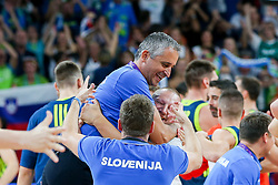 Igor Kokoskov, coach of Slovenia and Matej Erjavec celebrate after winning during basketball match between National Teams of Slovenia and Spain at Day 15 in Semifinal of the FIBA EuroBasket 2017 at Sinan Erdem Dome in Istanbul, Turkey on September 14, 2017. Photo by Vid Ponikvar / Sportida