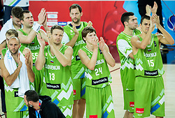 Players of Slovenia after the basketball match between Slovenia vs Greece at Day 5 in Group C of FIBA Europe Eurobasket 2015, on September 9, 2015, in Arena Zagreb, Croatia. Photo by Vid Ponikvar / Sportida