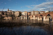 View from the Jardins du Palais de la Berbie across the Tarn River and its old red brick bridges spanning the water in Albi, Southern France.