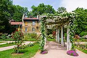 Rose garden and trellis at Parc de la Tete d'Or, Lyon, France (UNESCO World Heritage Site)
