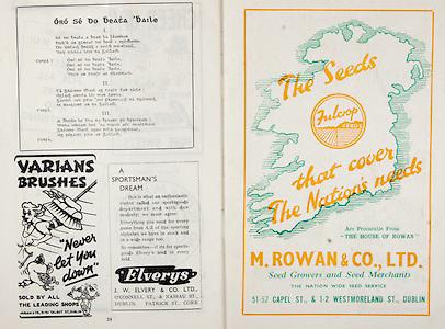 All Ireland Senior Hurling Championship Final,.Brochures,.03.09.1950, 09.03.1950, 3rd September 1950, .Tipperary 1-9, Kilkenny 1-8, .Minor Tipperary v Kilkenny,.Senior Tipperary v Kilkenny, .Croke Park, ..Songs, Oro Se Do Beata Baile, ..Advertisements, Varians Brushes, Elverys J W Elvery & Co Ltd, M Rowan & Co Ltd Seed Growers and Seed Merchants,