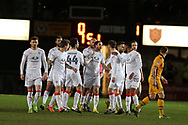 Danny Hylton of Luton Town © celebrates with his teammates after he scores his teams 1st goal from a penalty. EFL Skybet football league two match, Newport county v Luton Town at Rodney Parade in Newport, South Wales on Tuesday 21st March 2017.<br /> pic by Andrew Orchard,  Andrew Orchard sports photography.