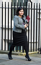 "© under license to London News Pictures. 5th August 2014 Foreign Office minister Baroness Warsi has resigned from the government, saying she can ""no longer support"" its policy on Gaza. FILE PICTURE DATED 18/12/2012. London, UK.  Baroness Warsi MP arriving on Downing Street, in London for cabinet meeting on December 18, 2012 Photo credit: Ben Cawthra/LNP."