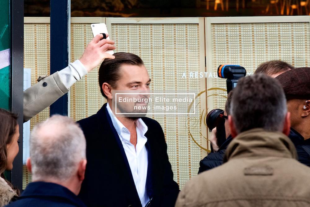 Oscar-winner Leonardo Di Caprio visits the Home restaurant in Edinburgh, which works to help the homeless before a keynote speech at Scottish Business Awards at the EICC. Thursday 17th November 2016 (c) Brian Anderson   Edinburgh Elite media