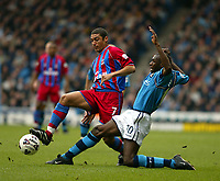 Fotball: Manchester City Shaun Goater and Crystal Palace's Hayden Mullins. Saturday March 16th 2002.<br />Foto: David Rawcliffe, Digitalsport
