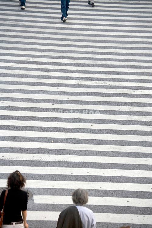 overhead view of pedestrian starting crossing Hachiko square Shibuya Japan Tokyo