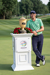 August 5, 2018 - Akron, OH, U.S. - AKRON, OH - AUGUST 05:  Justin Thomas (USA) holds the Gary Player Cup after winning the World Golf Championships - Bridgestone Invitational at Firestone Country Club South Course in Akron, Ohio on August 5, 2018. Thomas finished with a score of -15. (Photo by Shelley Lipton/Icon Sportswire) (Credit Image: © Shelley Lipton/Icon SMI via ZUMA Press)
