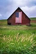 Patriotic barn in Washington's Palouse region.