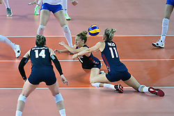 JIANGMEN, June 5, 2018  Andrea Drews  (1st R) and Carli Lloyd (2nd R) of the United States save the ball during the match against Russia at FIVB Volleyball Nations League 2018 in Jiangmen City, south China's Guangdong Province, June 5, 2018. Team USA won the match 3-0. (Credit Image: © Liang Xu/Xinhua via ZUMA Wire)