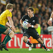 Aaron Cruden, New Zealand, in action during the New Zealand V Australia Semi Final match at the IRB Rugby World Cup tournament, Eden Park, Auckland, New Zealand, 16th October 2011. Photo Tim Clayton...