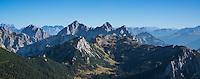 View from Aggenstein (1987m) towards Tannheimer Gruppe (Austria), Allgäu, Bavaria, Germany