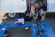 Jan Bos rijdt zich warm voor zijn race op de derde racedag van het WHPSC. In de buurt van Battle Mountain, Nevada, strijden van 10 tot en met 15 september 2012 verschillende teams om het wereldrecord fietsen tijdens de World Human Powered Speed Challenge. Het huidige record is 133 km/h.<br /> <br /> Jan Bos is warming up for his race on the third day of the WHPSC. Near Battle Mountain, Nevada, several teams are trying to set a new world record cycling at the World Human Powered Speed Challenge from Sept. 10th till Sept. 15th. The current record is 133 km/h.