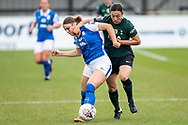 Rachel Williams of Tottenham Hotspur Women battles for possession wwith Ruby Mace of Birmingham City Women <br /> during the FA Women's Super League match between BIrmingham City Women and Tottenham Hotspur Women at Solihull Moors FC, Solihull, United Kingdom on 9 May 2021.