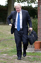 © Licensed to London News Pictures. 02/10/2018. Thame, UK. Boris Johnson leaves his Oxfordshire home. The former foreign secretary is due to speak at a fringe event at the Conservative Party Conference later . Photo credit: Peter Macdiarmid/LNP