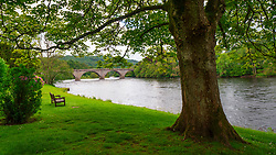 View of River Tay and Telford Bridge in Dunkeld, Perthshire, Scotland, UK