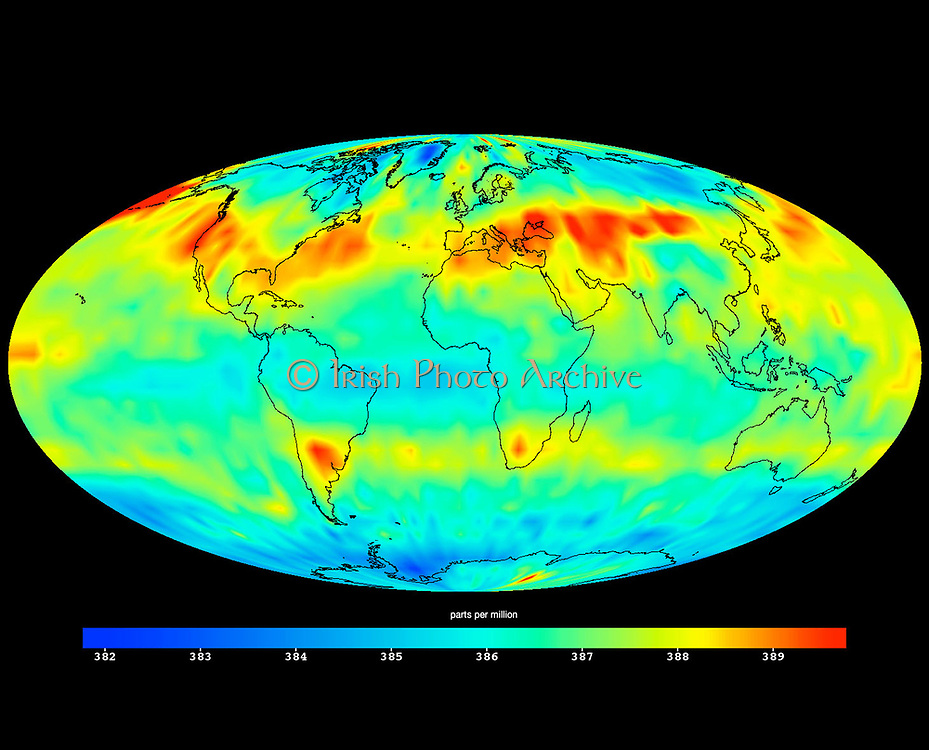 image created with data acquired by the Atmospheric Infrared Sounder instrument (AIRS) on NASA's Aqua satellite during July 2009. shows large-scale patterns of carbon dioxide concentrations that are transported around Earth by the general circulation of the atmosphere. Dark blue corresponds to a concentration of 382 parts per million and dark red corresponds to a concentration of almost 390 parts per million. The northern hemisphere mid-latitude jet stream effectively sets the northern limit of enhanced carbon dioxide. A belt of enhanced carbon dioxide girdles the globe in the southern hemisphere, following the Zonal flow of the southern hemisphere mid-latitude jet stream. This belt of carbon dioxide is fed by biogenesis activity in South America (carbon dioxide is released into the atmosphere through the respiration and decomposition of vegetation), forest fires in both South America and Central Africa, and clusters of gasification plants in South Africa and power generation plants in south eastern Australia.