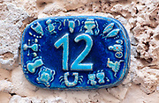Israel, Jaffa, Ceramic numbers zodiac signs the number Twelve