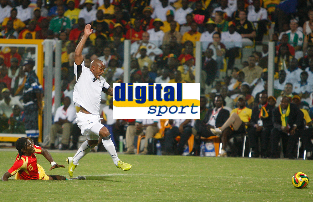 Photo: Steve Bond/Richard Lane Photography.<br />Ghana v Guinea. Africa Cup of Nations. 20/01/2008. Junior Agogo is fouled and Ghana have a penalty