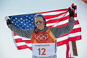 Nick Goepper, USA, wins ski slopestyle SILVER at thePyeongchang 2018 Winter Olympics men's freestyle ski slopestyle flower ceremony on February 18th 2017, at the Phoenix Snow Park inPyeongchang-gun, South Korea.