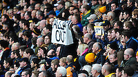 Hull City fans hold up 'Allam Out' banners during the first half<br /> <br /> Photographer: Chris Vaughan/CameraSport<br /> <br /> Football - Barclays Premiership - Hull City v Burnley - Saturday 9th May 2015 - Kingston Communications Stadium - Hull<br /> <br /> © CameraSport - 43 Linden Ave. Countesthorpe. Leicester. England. LE8 5PG - Tel: +44 (0) 116 277 4147 - admin@camerasport.com - www.camerasport.com