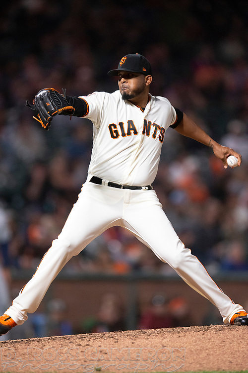 San Francisco Giants pitcher Francisco Abad (50) delivers against the San Diego Padres during the eighth inning of a baseball game, Thursday, Aug. 29, 2019, in San Francisco. The Padres won 5-3. (AP Photo/D. Ross Cameron)