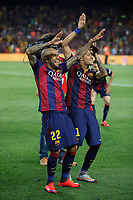 Barcelona´s Dani Alves and Neymar Jr celebrate after winning the 2014-15 Copa del Rey final match against Athletic de Bilbao at Camp Nou stadium in Barcelona, Spain. May 30, 2015. (ALTERPHOTOS/Victor Blanco)