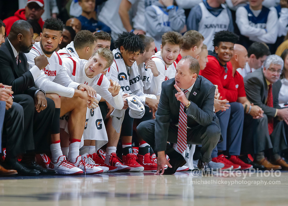 CINCINNATI, OH - NOVEMBER 13: Head coach Greg Gard of the Wisconsin Badgers is seen during the game against the Xavier Musketeers at Cintas Center on November 13, 2018 in Cincinnati, Ohio. (Photo by Michael Hickey/Getty Images) *** Local Caption *** Greg Gard