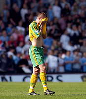 Photo: Daniel Hambury.<br /> Fulham v Norwich City.<br /> FA Barclays Premiership.<br /> 15/05/2005.<br /> Norwich's Mattias Jonson looks gutted as his side are relegated.