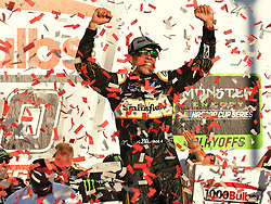 October 14, 2018 - Talladega, AL, U.S. - TALLADEGA, AL - OCTOBER 14: A victorious Aric Almirola, Stewart-Haas Racing, Ford Fusion Smithfield Bacon For Life (10) celebrates in Victory Lane after winning the 1000Bulbs.com 500 on October 14, 2018, at Talladega Superspeedway in Tallageda, AL.(Photo by Jeffrey Vest/Icon Sportswire) (Credit Image: © Jeffrey Vest/Icon SMI via ZUMA Press)