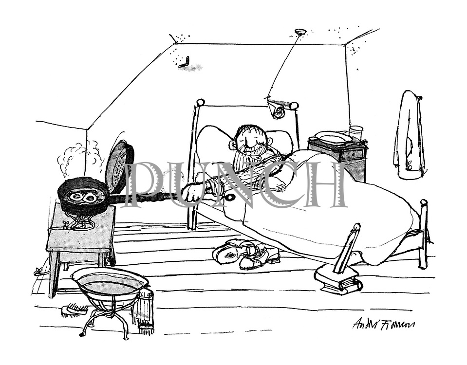(A man lies in bed frying his breakfast eggs using a long-handled warming pan)