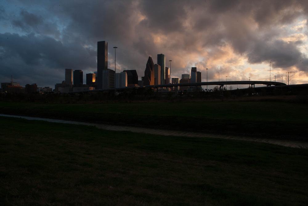 Houston, Texas skyline at dusk.