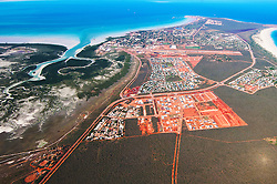 Aerial view of Broome, Western Australia, looking over Roebuck Bay.
