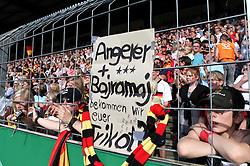 03.06.2011, Osnatel Arena, Osnabrueck, GER, WM 2012 FSP,  Deutschland (GER) vs Italien (ITA), .im Bild deutsche Fans fragen per Plakat nach den Trikots von Angerer und Bajramaj  during the WM 2011 Friendly Game, Germany vs Italy, at Osnatel Arena, Osnabrück, 2011-06-03, .EXPA Pictures © 2011, PhotoCredit: EXPA/ nph/  Hessland       ****** out of GER / SWE / CRO  / BEL ******