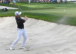 July 15, 2018 - Silvis, Illinois, U.S. - SILVIS, IL - JULY 15:  Bronson Burgoon hits out of the sand trap on the #18 green during the final round of the John Deere Classic on July 15, 2018, at TPC Deere Run, Silvis, IL.  (Photo by Keith Gillett/Icon Sportswire) (Credit Image: © Keith Gillett/Icon SMI via ZUMA Press)