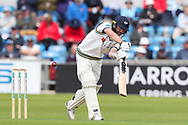 Adam Lyth of Yorkshire knicks the ball and is dismissed off the bowling of Keith Barker of Hampshire during the opening day of the Specsavers County Champ Div 1 match between Yorkshire County Cricket Club and Hampshire County Cricket Club at Headingley Stadium, Headingley, United Kingdom on 27 May 2019.