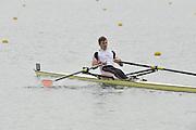 Eton, United Kingdom  GBR LM1X. Dave JONES at the start of his time trial men's lightweight single sculls at the 2012 GB Rowing Senior Trials, Dorney Lake. Nr Windsor, Berks.  Saturday  10/03/2012  [Mandatory Credit; Peter Spurrier/Intersport-images]