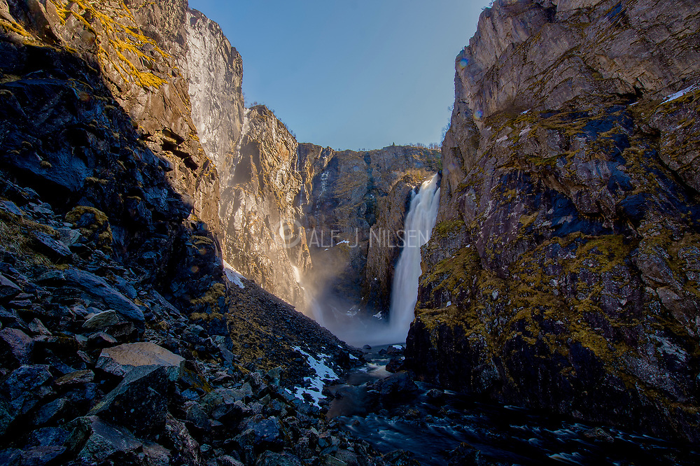 Vöringsfossen, the most famous waterfall in Norway, seen from the bottom of the canyon. The waterfall has a verticle fall of 145 meters. Photo from May 2015.