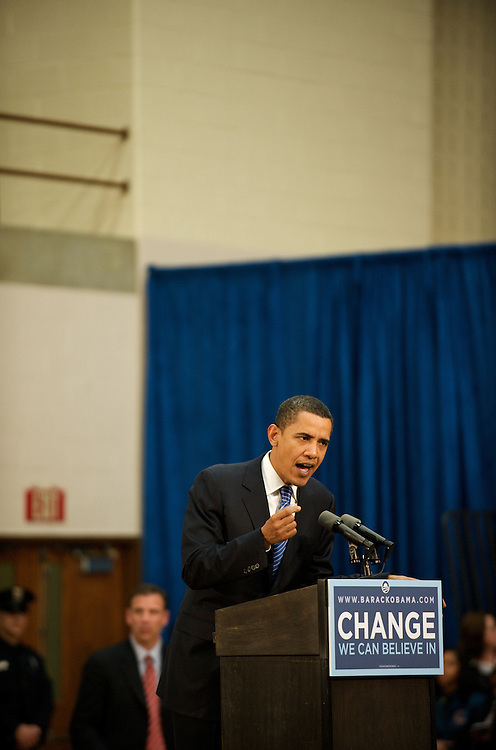 Senator Barack Obama delivers a speech at a Reading High School campaign rally in Pennsylvania.