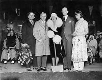 1/5/1926 Groundbreaking ceremony for Grauman's Chinese Theatre. L to R: Sid Grauman, Charlie Chaplin, Norma Talmadge, Conrad Nagel, and Anna Mae Wong.