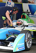 Alex Fontana getting ready to go out onto the track during the FIA Formula E Visa London ePrix  at Battersea Park, London, United Kingdom on 28 June 2015. Photo by Matthew Redman.