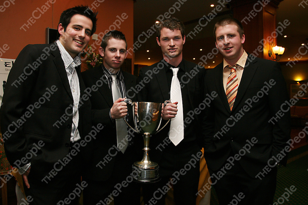 Diarmuid Green, Jack Queally, Sean McNamara and Paul McDonagh at the Ballyvaughan medals presentation in the Falls Hotel on Saturday evening.<br /><br />Photograph by Yvonne Vaughan.