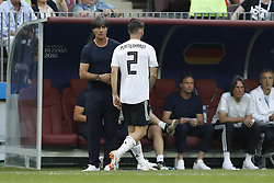 (l-r) coach Joachim Low of Germany, Marvin Plattenhardt of Germany during the 2018 FIFA World Cup Russia group F match between Germany and Mexico at the Luzhniki Stadium on June 17, 2018 in Moscow, Russia