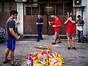 24 AUGUST 2018 - GEORGE TOWN, PENANG, MALAYSIA: The Ghost Festival, also known as the Hungry Ghost Festival is a traditional Buddhist and Taoist festival held in Chinese communities throughout Asia. The Ghost Festival, also called Ghost Day, is on the 15th night of the seventh month (25 August in 2018). During Ghost Festival, the deceased are believed to visit the living. In many Chinese communities, there are Chinese operas and puppet shows and elaborate banquets are staged to appease the ghosts.      PHOTO BY JACK KURTZ
