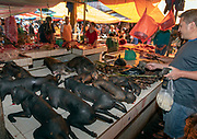 Dead monkeys for sale as food at tomohon extreme market, Minahasa, north Sulawesi, Indonesia.