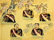 The Emperor of Japan and the Royal princes and military commanders of the royal court From the book 'Scenes from the Japan-China War' by Inouye, Jukichi, 1862-1929; Yamamoto, Eiki, illustrator. Published in Tokyo in 1895 with English Text. The First Sino-Japanese War (25 July 1894 – 17 April 1895) was a conflict between the Qing dynasty of China and the Empire of Japan primarily over influence in Joseon Korea. After more than six months of unbroken successes by Japanese land and naval forces and the loss of the port of Weihaiwei, the Qing government sued for peace in February 1895.